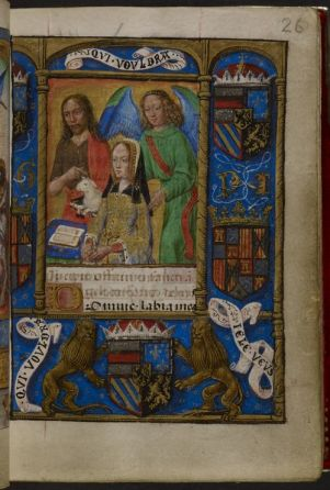 Joanna of Castile flanked by St John the Baptist and her guardian angel, the Hours of Joanna the Mad, Add MS 18852, f. 26r