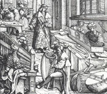 Maximilian I. und die Hofkapelle. Holzschnitt von Hans Burgkmair d. Ältere, 1514.